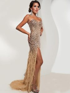 Robe de soiree chic or