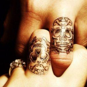 Tatouage doigt tete de mort