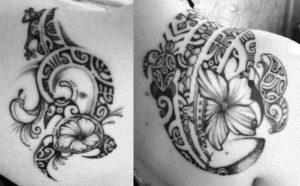 Tatouage fleur maorie pied