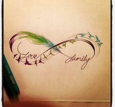 Tatouage infini plume couleur