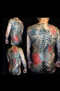 Tatouage japonais poisson dos