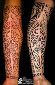 Tatouage maorie jambe