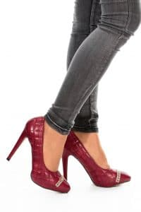 Escarpin rouge en jean