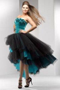 Robe de bal de promo verte et noir