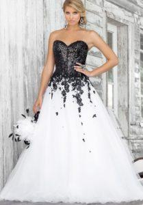 Robe de bal de promo blanche et noir