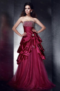 Robe de bal de promo rouge bordeau