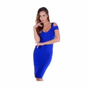 Robe fourreau couleur bleu