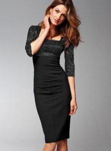 Robe fourreau noir longue