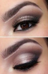 Maquillage nude yeux marron soiree