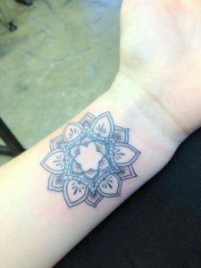 Tatouage mandala poignet bleu