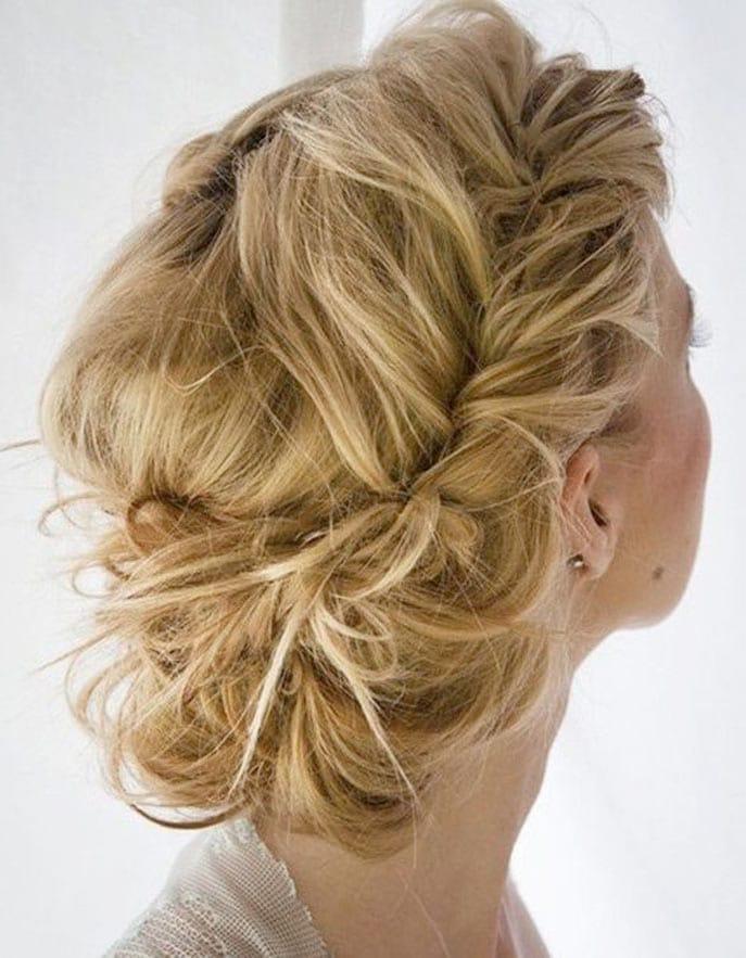 Chignon tresse blond