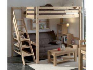Lit mezzanine 2 places bois