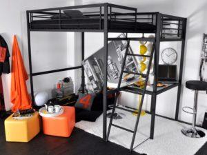 Lit mezzanine 2 places noir