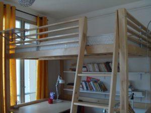 Lit mezzanine 2 places bois clair