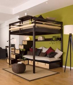 Lit mezzanine 2 places noir et bois