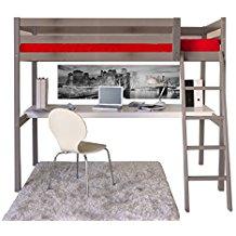 Lit mezzanine 2 places bois gris