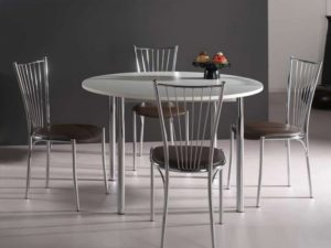 Table de cuisine ronde blanche alu