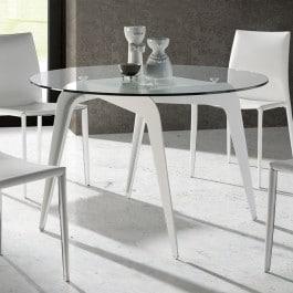 Table de cuisine ronde plateau en verre