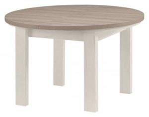 Table de cuisine ronde blanc et bois