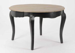Table de cuisine ronde noir et bois