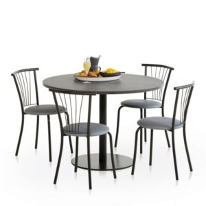 Table de cuisine ronde gris